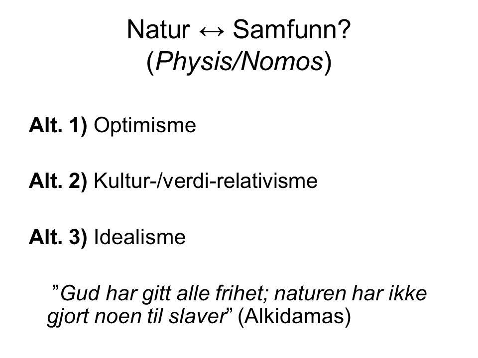 """Natur ↔ Samfunn? (Physis/Nomos) Alt. 1) Optimisme Alt. 2) Kultur-/verdi-relativisme Alt. 3) Idealisme """"Gud har gitt alle frihet; naturen har ikke gjor"""