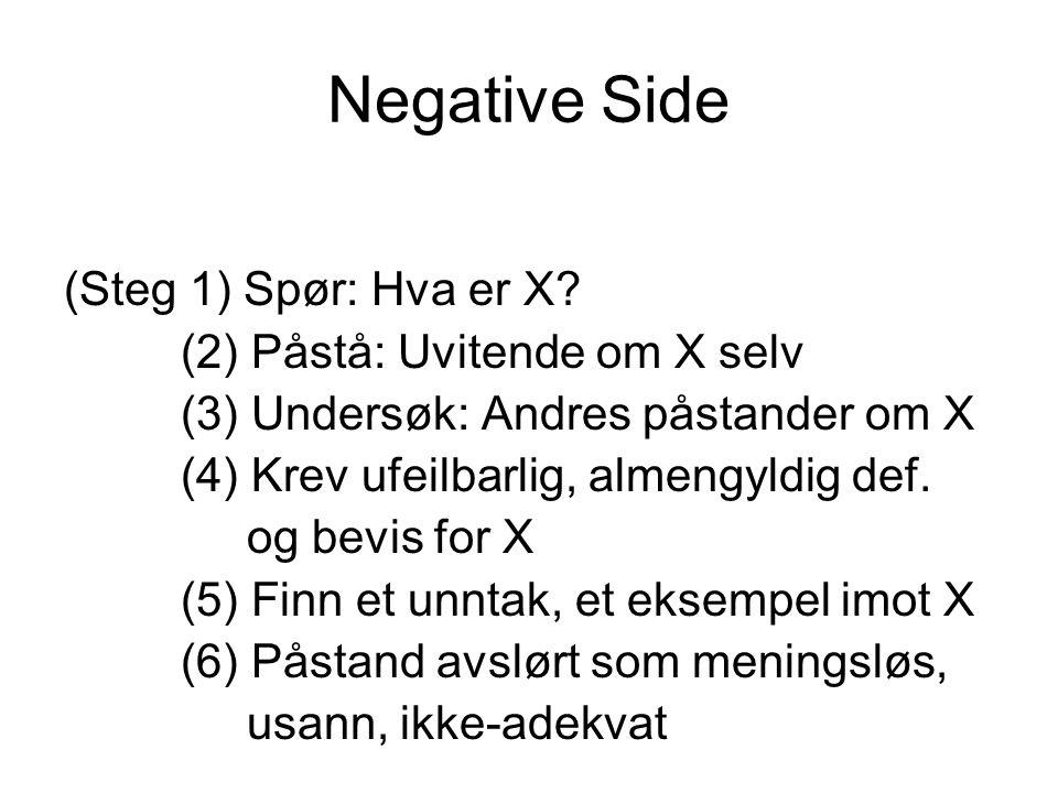 Negative Side (Steg 1) Spør: Hva er X? (2) Påstå: Uvitende om X selv (3) Undersøk: Andres påstander om X (4) Krev ufeilbarlig, almengyldig def. og bev