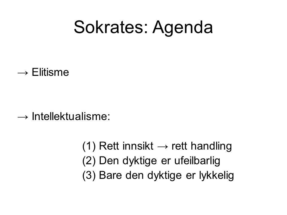 Sokrates: Agenda → Elitisme → Intellektualisme: (1) Rett innsikt → rett handling (2) Den dyktige er ufeilbarlig (3) Bare den dyktige er lykkelig