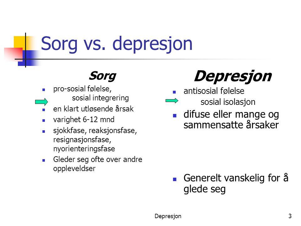 Depresjon3 Sorg vs. depresjon Sorg  pro-sosial følelse, sosial integrering  en klart utløsende årsak  varighet 6-12 mnd  sjokkfase, reaksjonsfase,