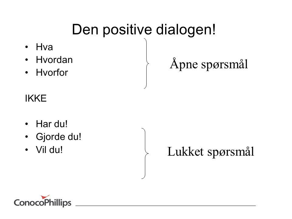 Den positive dialogen.•Hva •Hvordan •Hvorfor IKKE •Har du.