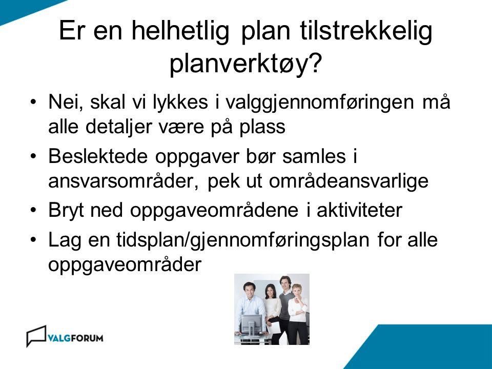 Er en helhetlig plan tilstrekkelig planverktøy? •Nei, skal vi lykkes i valggjennomføringen må alle detaljer være på plass •Beslektede oppgaver bør sam