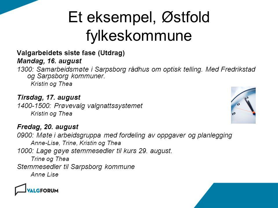 Et eksempel, Østfold fylkeskommune Valgarbeidets siste fase (Utdrag) Mandag, 16. august 1300: Samarbeidsmøte i Sarpsborg rådhus om optisk telling. Med