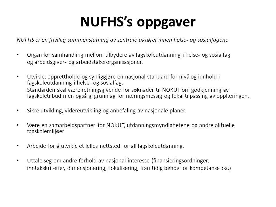 NUFHS's oppgaver NUFHS er en frivillig sammenslutning av sentrale aktører innen helse- og sosialfagene • Organ for samhandling mellom tilbydere av fagskoleutdanning i helse- og sosialfag og arbeidsgiver- og arbeidstakerorganisasjoner.