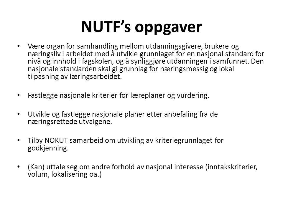 NUTF's oppgaver • Være organ for samhandling mellom utdanningsgivere, brukere og næringsliv i arbeidet med å utvikle grunnlaget for en nasjonal standard for nivå og innhold i fagskolen, og å synliggjøre utdanningen i samfunnet.