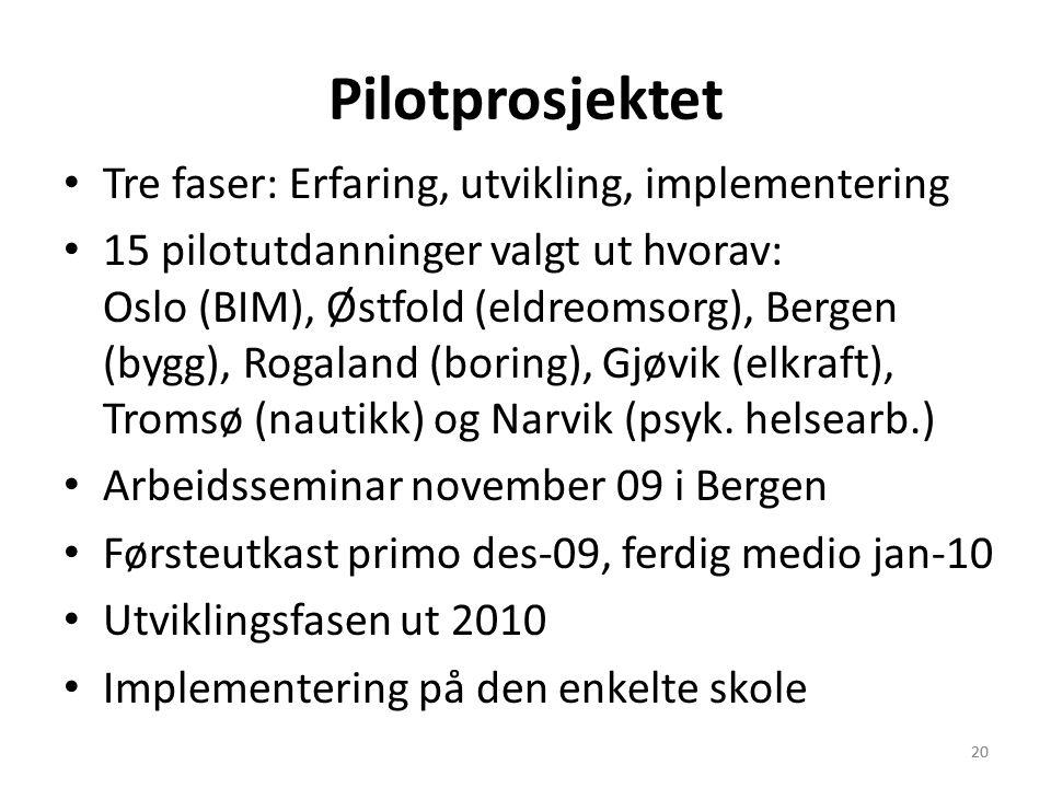 20 Pilotprosjektet • Tre faser: Erfaring, utvikling, implementering • 15 pilotutdanninger valgt ut hvorav: Oslo (BIM), Østfold (eldreomsorg), Bergen (bygg), Rogaland (boring), Gjøvik (elkraft), Tromsø (nautikk) og Narvik (psyk.