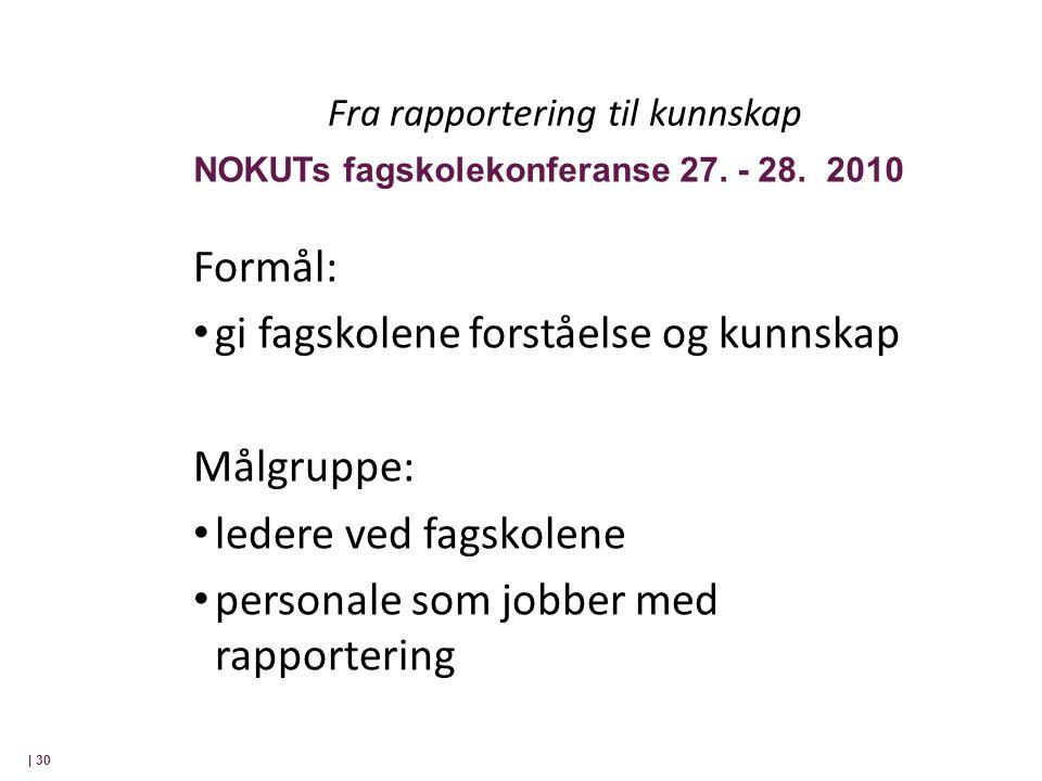 Fra rapportering til kunnskap Formål: • gi fagskolene forståelse og kunnskap Målgruppe: • ledere ved fagskolene • personale som jobber med rapportering | 30 NOKUTs fagskolekonferanse 27.