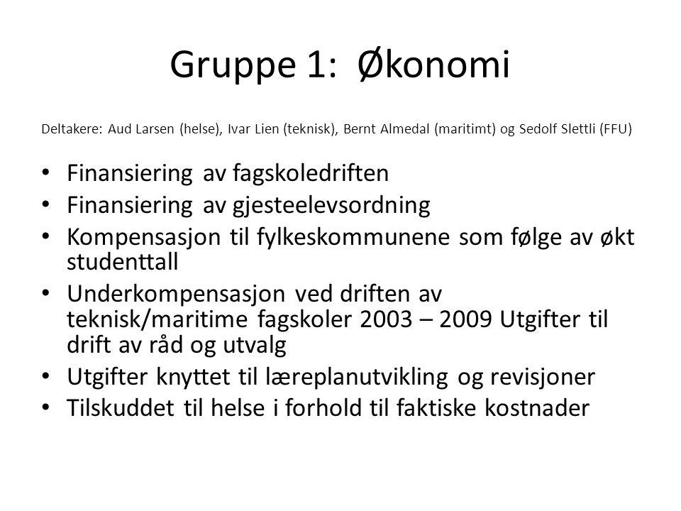 Gruppe 1: Økonomi Deltakere: Aud Larsen (helse), Ivar Lien (teknisk), Bernt Almedal (maritimt) og Sedolf Slettli (FFU) • Finansiering av fagskoledriften • Finansiering av gjesteelevsordning • Kompensasjon til fylkeskommunene som følge av økt studenttall • Underkompensasjon ved driften av teknisk/maritime fagskoler 2003 – 2009 Utgifter til drift av råd og utvalg • Utgifter knyttet til læreplanutvikling og revisjoner • Tilskuddet til helse i forhold til faktiske kostnader