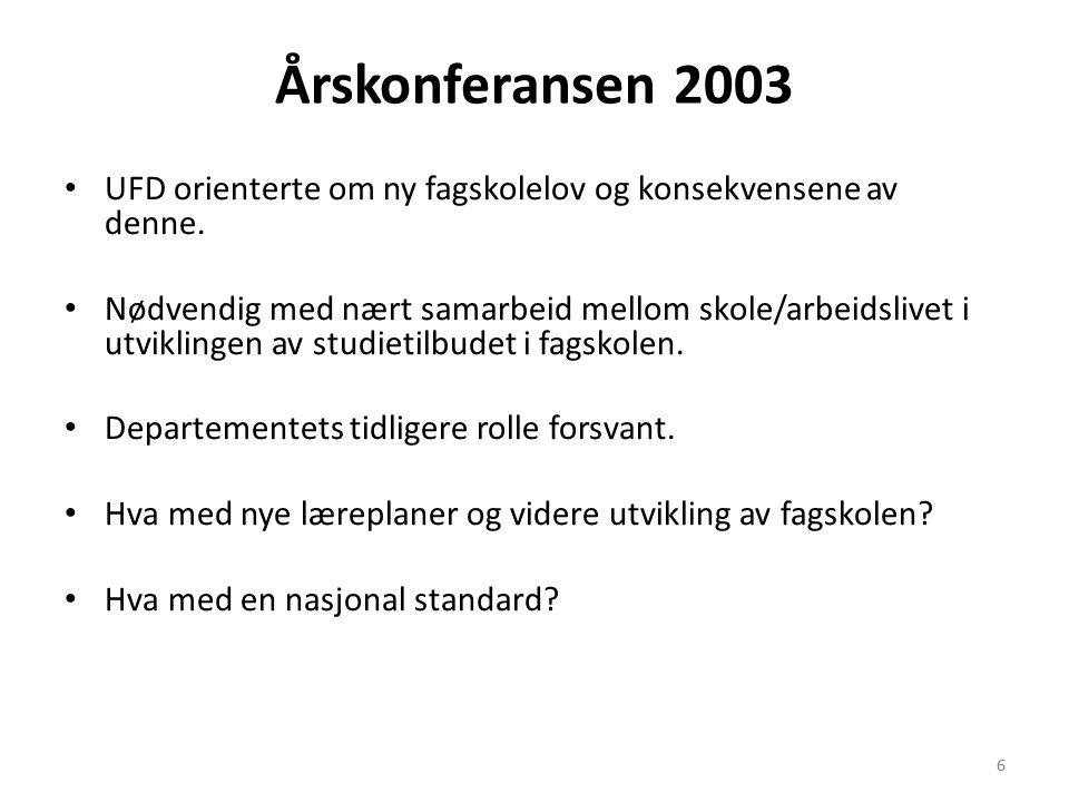 6 Årskonferansen 2003 • UFD orienterte om ny fagskolelov og konsekvensene av denne.