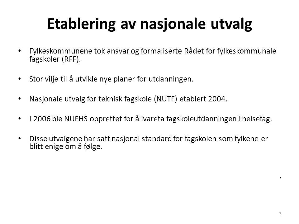 7 Etablering av nasjonale utvalg • Fylkeskommunene tok ansvar og formaliserte Rådet for fylkeskommunale fagskoler (RFF).