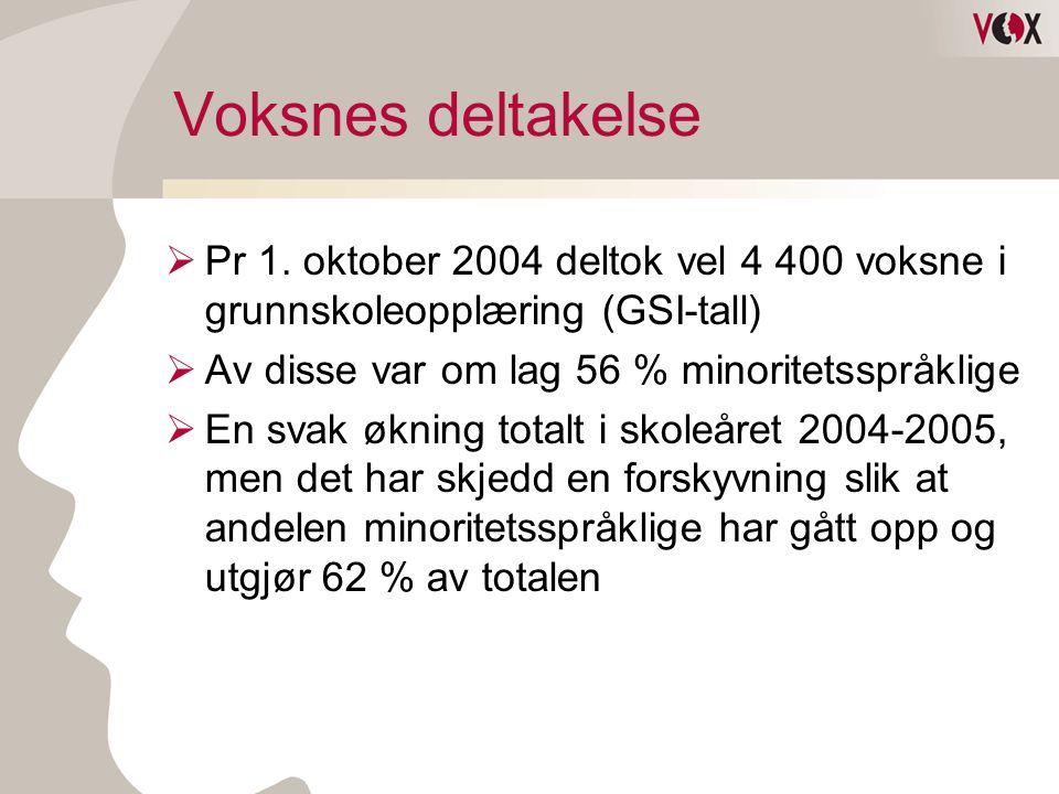 Voksnes deltakelse  Pr 1. oktober 2004 deltok vel 4 400 voksne i grunnskoleopplæring (GSI-tall)  Av disse var om lag 56 % minoritetsspråklige  En s