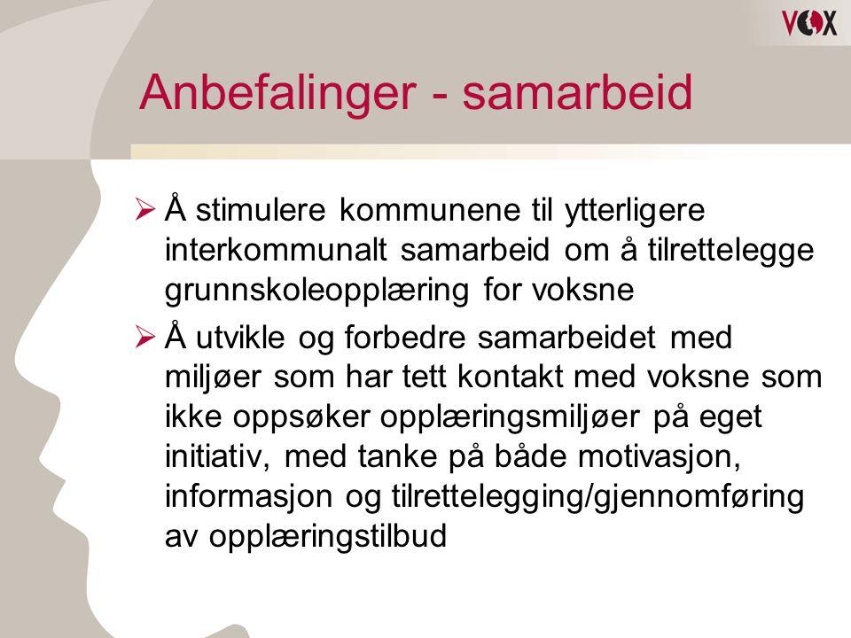 Anbefalinger - samarbeid  Å stimulere kommunene til ytterligere interkommunalt samarbeid om å tilrettelegge grunnskoleopplæring for voksne  Å utvikl