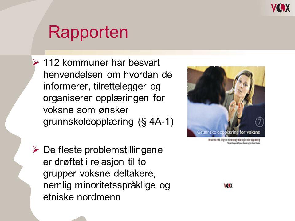 Rapporten  112 kommuner har besvart henvendelsen om hvordan de informerer, tilrettelegger og organiserer opplæringen for voksne som ønsker grunnskole