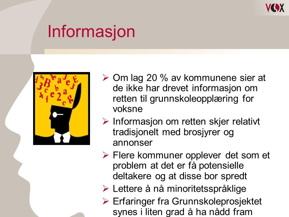Informasjon  Om lag 20 % av kommunene sier at de ikke har drevet informasjon om retten til grunnskoleopplæring for voksne  Informasjon om retten skj