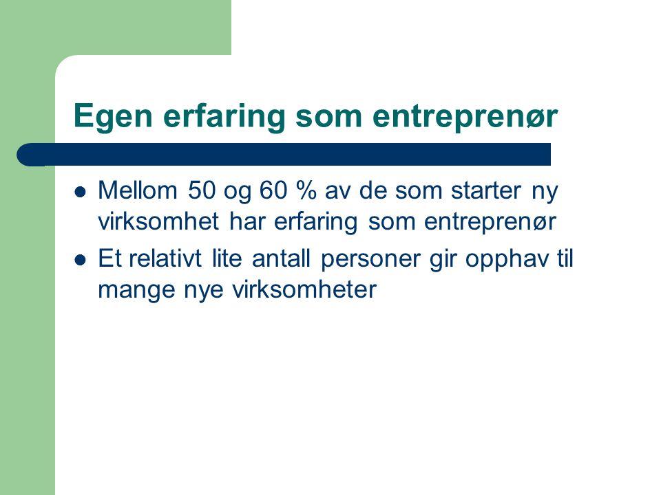 Egen erfaring som entreprenør  Mellom 50 og 60 % av de som starter ny virksomhet har erfaring som entreprenør  Et relativt lite antall personer gir