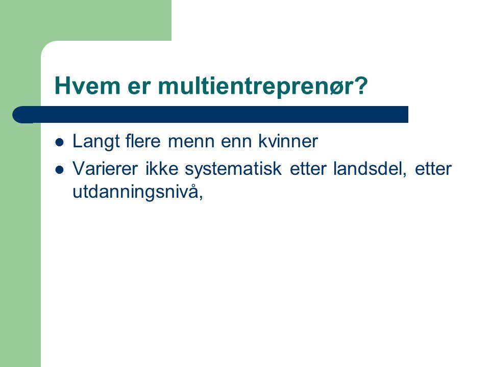 Hvem er multientreprenør?  Langt flere menn enn kvinner  Varierer ikke systematisk etter landsdel, etter utdanningsnivå,