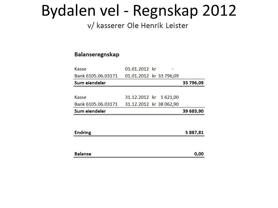 Bydalen vel - Regnskap 2012 v/ kasserer Ole Henrik Leister