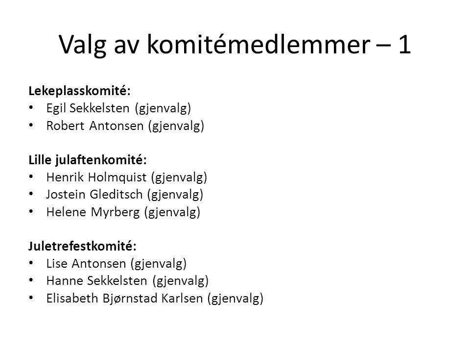 Valg av komitémedlemmer – 1 Lekeplasskomité: • Egil Sekkelsten (gjenvalg) • Robert Antonsen (gjenvalg) Lille julaftenkomité: • Henrik Holmquist (gjenv
