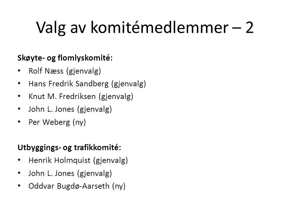 Valg av komitémedlemmer – 2 Skøyte- og flomlyskomité: • Rolf Næss (gjenvalg) • Hans Fredrik Sandberg (gjenvalg) • Knut M. Fredriksen (gjenvalg) • John
