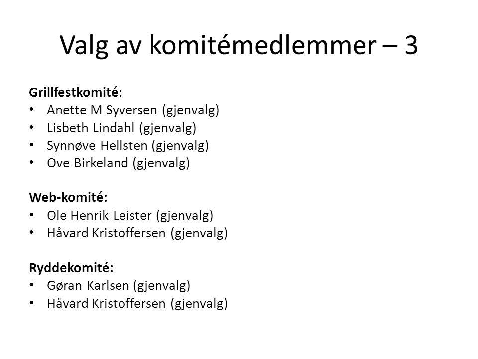 Valg av komitémedlemmer – 3 Grillfestkomité: • Anette M Syversen (gjenvalg) • Lisbeth Lindahl (gjenvalg) • Synnøve Hellsten (gjenvalg) • Ove Birkeland