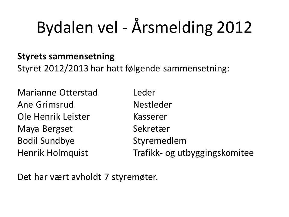 Bydalen vel - Årsmelding 2012 Styrets sammensetning Styret 2012/2013 har hatt følgende sammensetning: Marianne OtterstadLeder Ane GrimsrudNestleder Ol