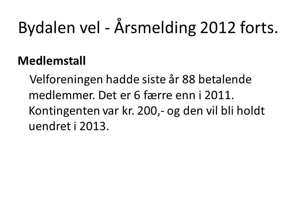 Bydalen vel - Årsmelding 2012 forts. Medlemstall Velforeningen hadde siste år 88 betalende medlemmer. Det er 6 færre enn i 2011. Kontingenten var kr.