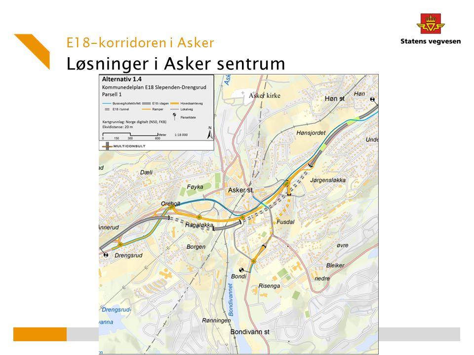 Løsninger i Asker sentrum E18-korridoren i Asker