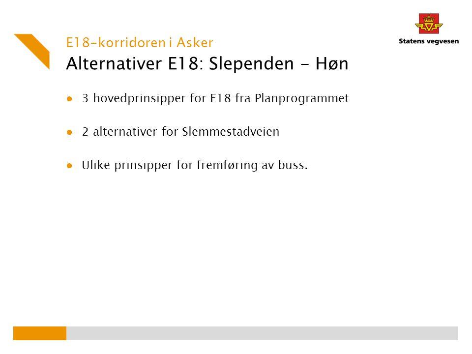 Alternativer E18: Slependen - Høn ● 3 hovedprinsipper for E18 fra Planprogrammet ● 2 alternativer for Slemmestadveien ● Ulike prinsipper for fremførin