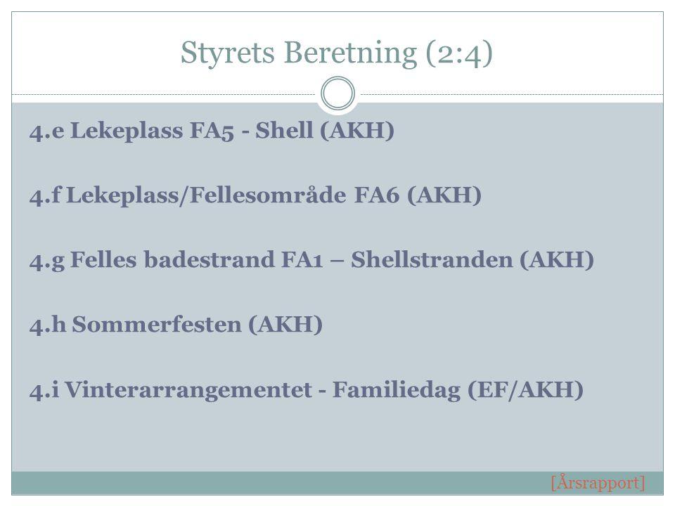 Styrets Beretning (2:4) 4.e Lekeplass FA5 - Shell (AKH) 4.f Lekeplass/Fellesområde FA6 (AKH) 4.g Felles badestrand FA1 – Shellstranden (AKH) 4.h Sommerfesten (AKH) 4.i Vinterarrangementet - Familiedag (EF/AKH) [Årsrapport]