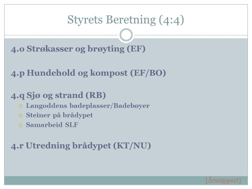 Styrets Beretning (4:4) 4.o Strøkasser og brøyting (EF) 4.p Hundehold og kompost (EF/BO) 4.q Sjø og strand (RB)  Langoddens badeplasser/Badebøyer  Steiner på brådypet  Samarbeid SLF 4.r Utredning brådypet (KT/NU) [Årsrapport]