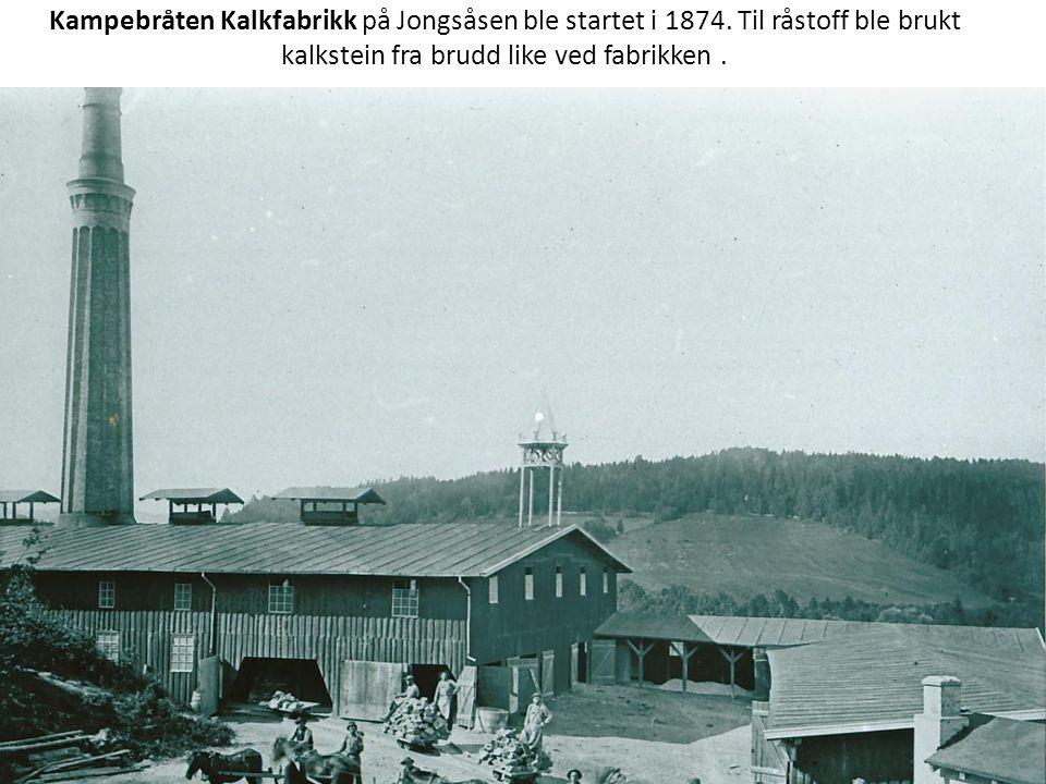 Kampebråten Kalkfabrikk på Jongsåsen ble startet i 1874. Til råstoff ble brukt kalkstein fra brudd like ved fabrikken.