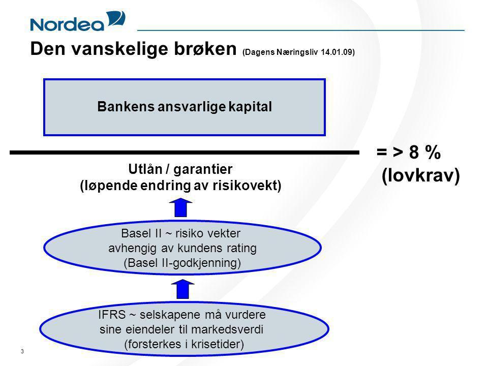 3 Den vanskelige brøken (Dagens Næringsliv 14.01.09) Bankens ansvarlige kapital IFRS ~ selskapene må vurdere sine eiendeler til markedsverdi (forsterkes i krisetider) Basel II ~ risiko vekter avhengig av kundens rating (Basel II-godkjenning) Utlån / garantier (løpende endring av risikovekt) = > 8 % (lovkrav)