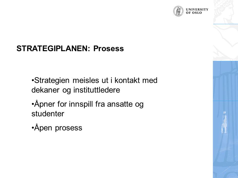 STRATEGIPLANEN: Prosess •Strategien meisles ut i kontakt med dekaner og instituttledere •Åpner for innspill fra ansatte og studenter •Åpen prosess