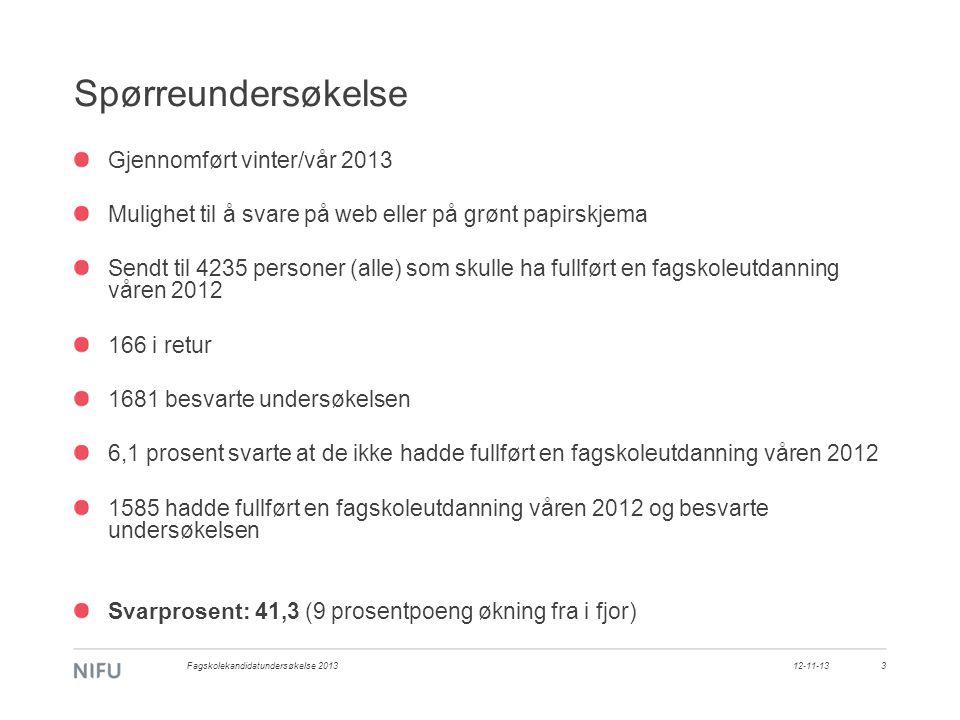 Spørreundersøkelse Gjennomført vinter/vår 2013 Mulighet til å svare på web eller på grønt papirskjema Sendt til 4235 personer (alle) som skulle ha ful