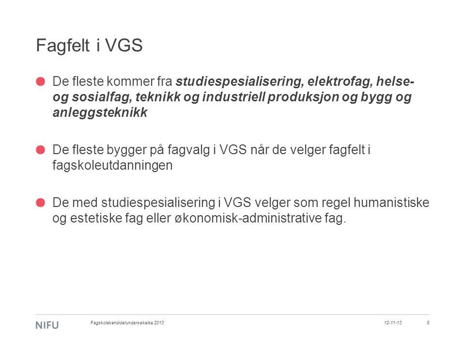 Fagfelt i VGS De fleste kommer fra studiespesialisering, elektrofag, helse- og sosialfag, teknikk og industriell produksjon og bygg og anleggsteknikk