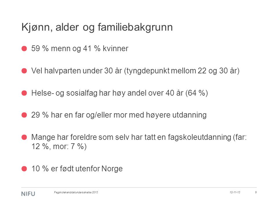 Kjønn, alder og familiebakgrunn 59 % menn og 41 % kvinner Vel halvparten under 30 år (tyngdepunkt mellom 22 og 30 år) Helse- og sosialfag har høy andel over 40 år (64 %) 29 % har en far og/eller mor med høyere utdanning Mange har foreldre som selv har tatt en fagskoleutdanning (far: 12 %, mor: 7 %) 10 % er født utenfor Norge 12-11-13Fagskolekandidatundersøkelse 20139