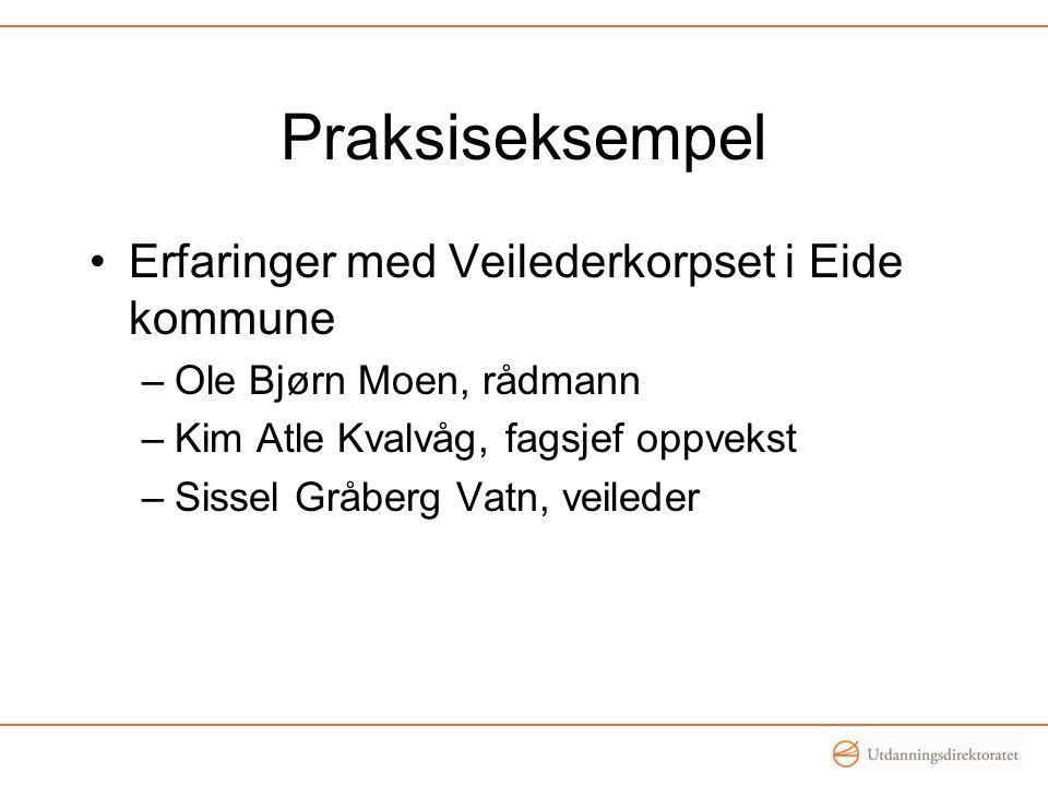 Praksiseksempel •Erfaringer med Veilederkorpset i Eide kommune –Ole Bjørn Moen, rådmann –Kim Atle Kvalvåg, fagsjef oppvekst –Sissel Gråberg Vatn, veil