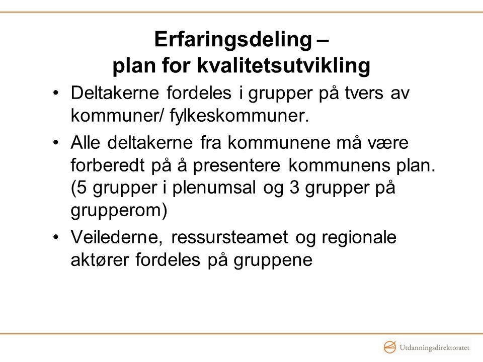 Erfaringsdeling – plan for kvalitetsutvikling •Deltakerne fordeles i grupper på tvers av kommuner/ fylkeskommuner. •Alle deltakerne fra kommunene må v