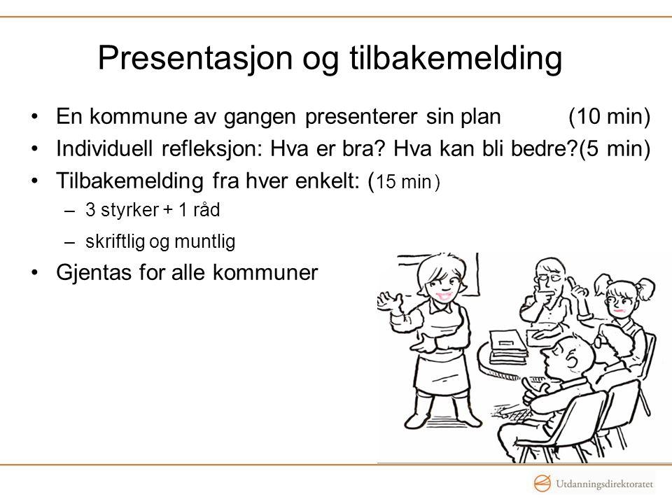 Presentasjon og tilbakemelding •En kommune av gangen presenterer sin plan (10 min) •Individuell refleksjon: Hva er bra? Hva kan bli bedre?(5 min) •Til