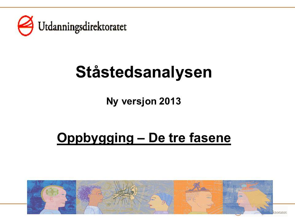 Ståstedsanalysen Ny versjon 2013 Oppbygging – De tre fasene