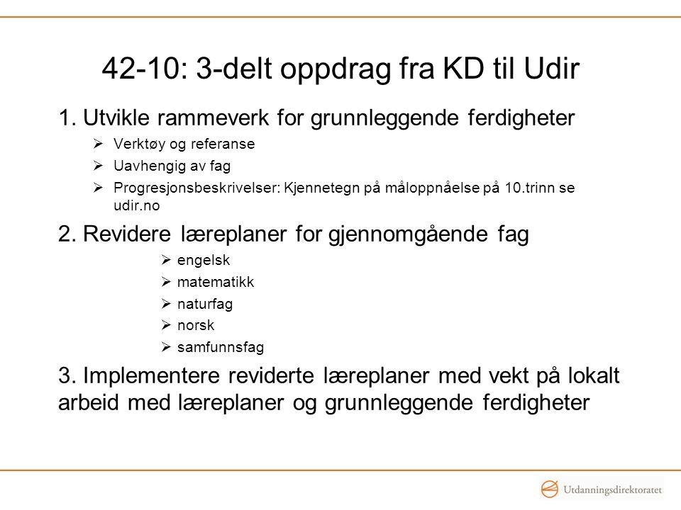 42-10: 3-delt oppdrag fra KD til Udir 1. Utvikle rammeverk for grunnleggende ferdigheter  Verktøy og referanse  Uavhengig av fag  Progresjonsbeskri