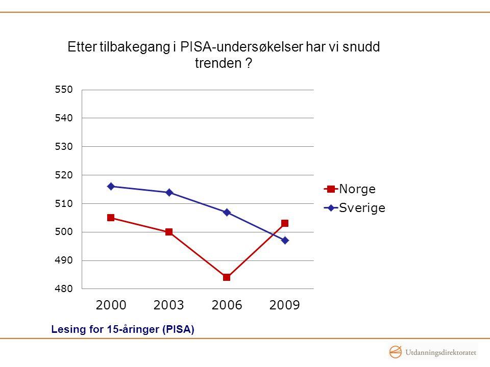 Etter tilbakegang i PISA-undersøkelser har vi snudd trenden ? Lesing for 15-åringer (PISA)