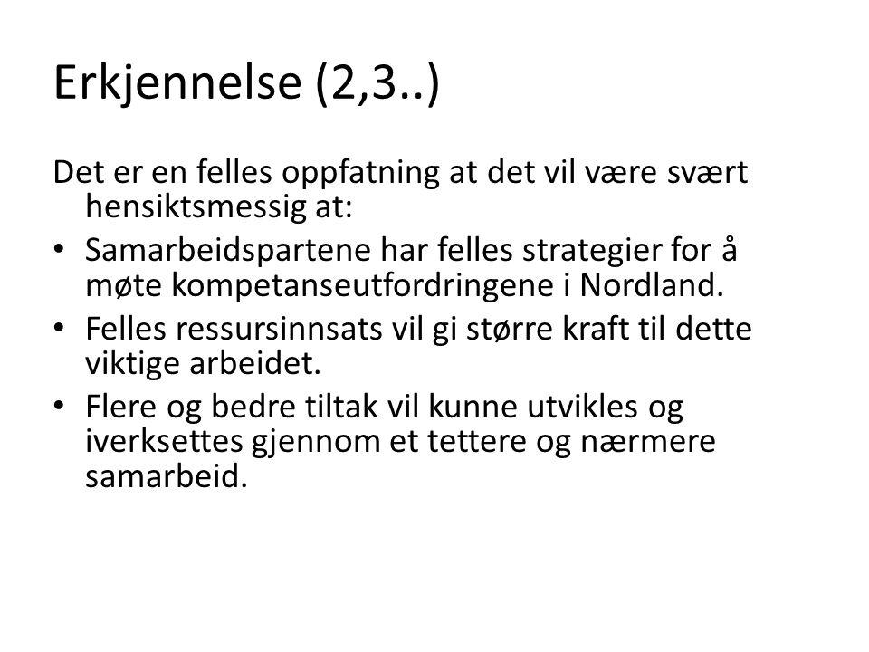 Erkjennelse (2,3..) Det er en felles oppfatning at det vil være svært hensiktsmessig at: • Samarbeidspartene har felles strategier for å møte kompetanseutfordringene i Nordland.
