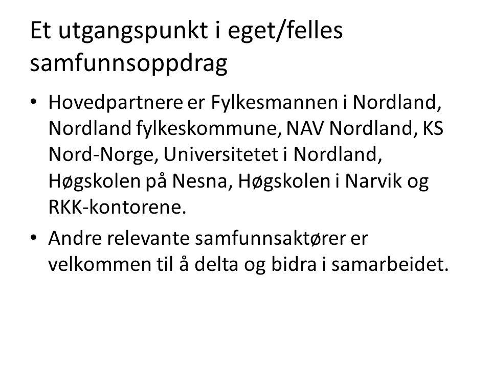 Et utgangspunkt i eget/felles samfunnsoppdrag • Hovedpartnere er Fylkesmannen i Nordland, Nordland fylkeskommune, NAV Nordland, KS Nord-Norge, Universitetet i Nordland, Høgskolen på Nesna, Høgskolen i Narvik og RKK-kontorene.