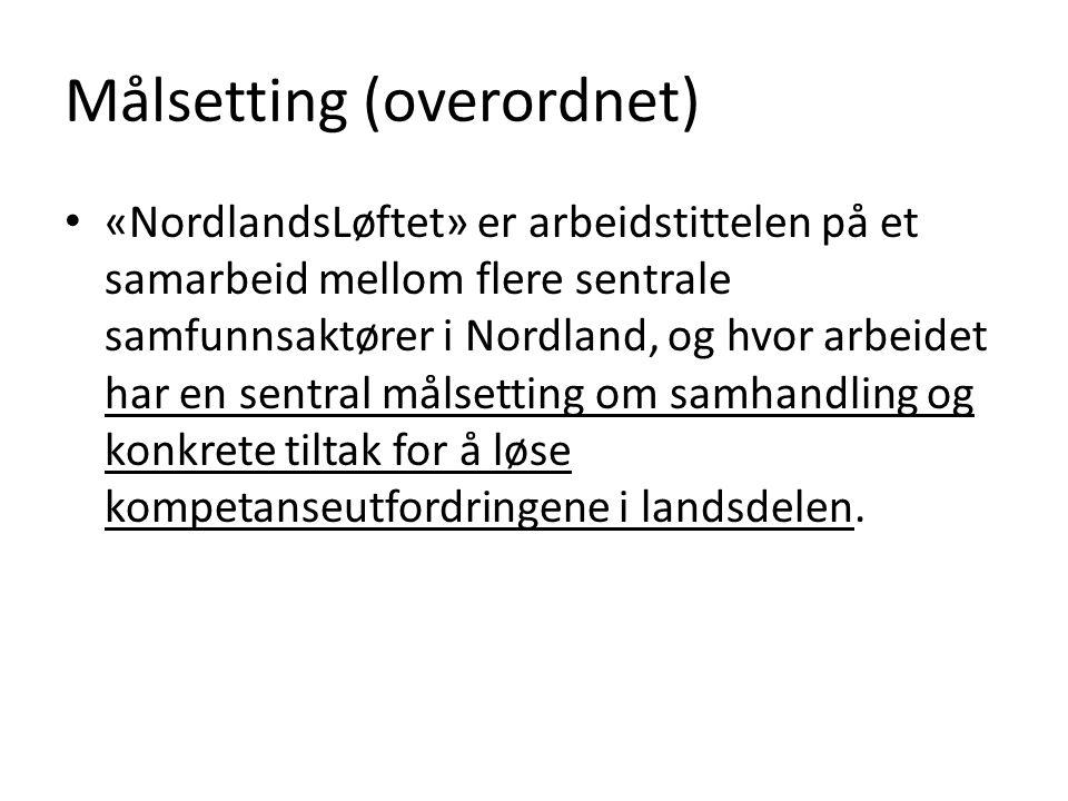 Målsetting (overordnet) • «NordlandsLøftet» er arbeidstittelen på et samarbeid mellom flere sentrale samfunnsaktører i Nordland, og hvor arbeidet har en sentral målsetting om samhandling og konkrete tiltak for å løse kompetanseutfordringene i landsdelen.