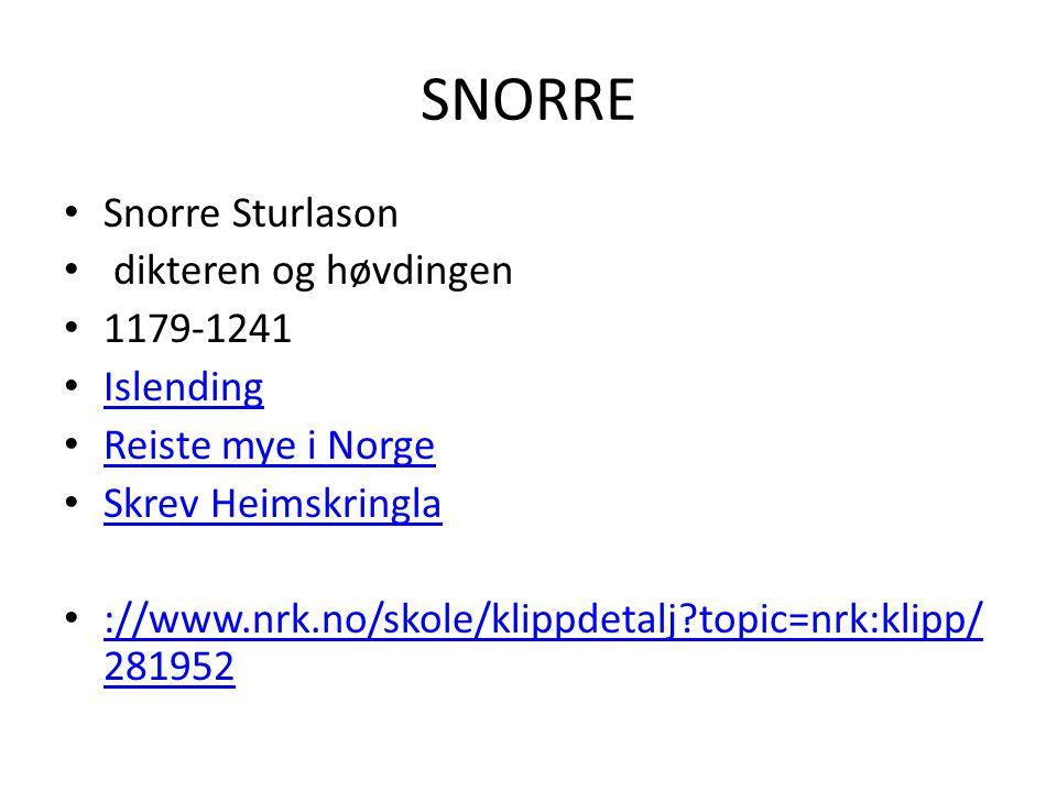 SNORRE • Snorre Sturlason • dikteren og høvdingen • 1179-1241 • Islending Islending • Reiste mye i Norge Reiste mye i Norge • Skrev Heimskringla Skrev Heimskringla • ://www.nrk.no/skole/klippdetalj?topic=nrk:klipp/ 281952 ://www.nrk.no/skole/klippdetalj?topic=nrk:klipp/ 281952
