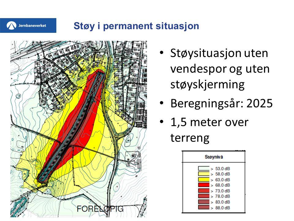 Støy i permanent situasjon • Støysituasjon uten vendespor og uten støyskjerming • Beregningsår: 2025 • 1,5 meter over terreng