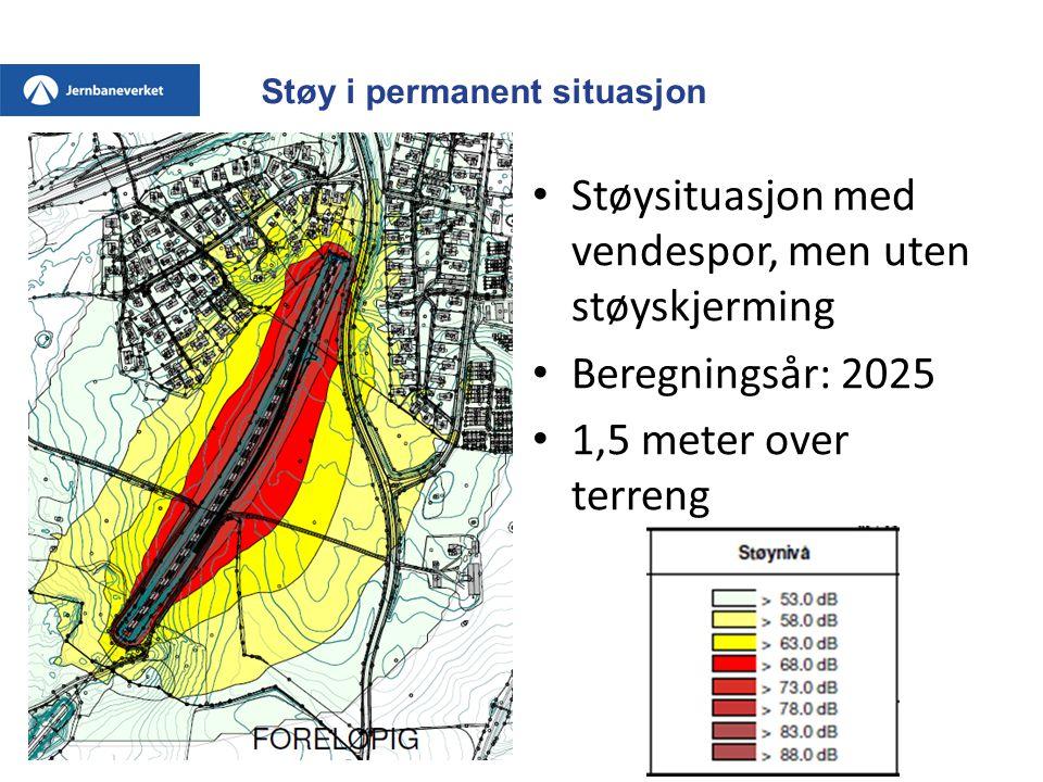 Støy i permanent situasjon • Støysituasjon med vendespor, men uten støyskjerming • Beregningsår: 2025 • 1,5 meter over terreng