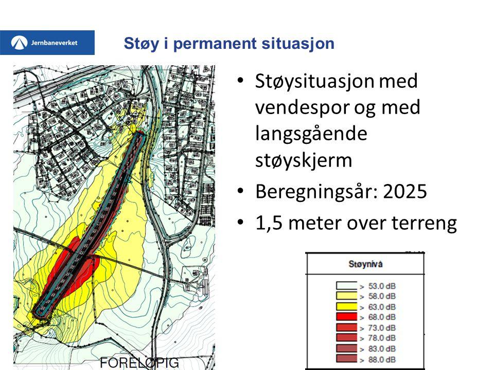 Støy i permanent situasjon • Støysituasjon med vendespor og med langsgående støyskjerm • Beregningsår: 2025 • 1,5 meter over terreng