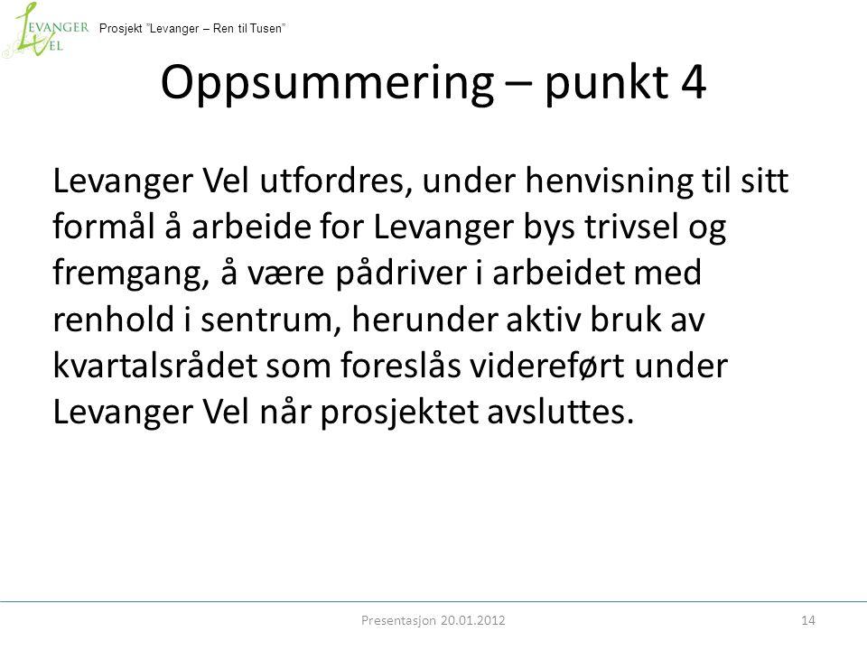 """Prosjekt """"Levanger – Ren til Tusen"""" Oppsummering – punkt 4 Levanger Vel utfordres, under henvisning til sitt formål å arbeide for Levanger bys trivsel"""